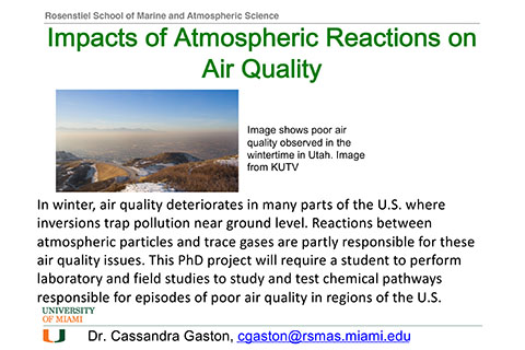 assistantship impact of atmospheric reactions on air quality